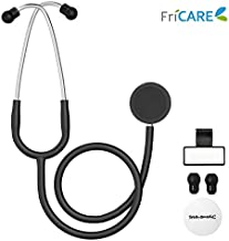 Dual Head Stethoscope for Medical and Home by FriCARE, Classic Lightweight Design, Stethoscope for Adult, Gift for Nurses, Doctors, Medical Students, 28 inch (Black)