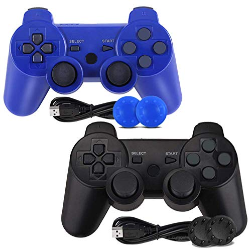 PS3 Controller, 2-Pack Wireless Bluetooth Gamepad Double Vibration Remote Joystick for Playstation 3 with Charging Cord (2-Pack)