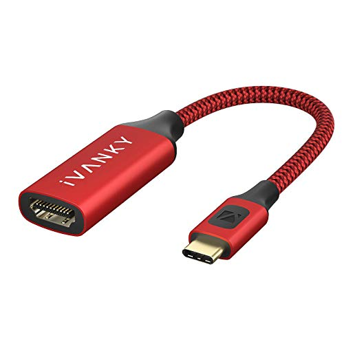 iVANKY Adattatore USB C a HDMI, [4K@60Hz, Nylon] Cavo Adattatore Type C HDMI Compatibile per MacBook Pro 2019/2018, iPad Pro 2018, Surface Book 2, Samsung Galaxy S20/S10, Dell XPS 13/15 - Rosso