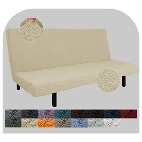JIVINER - Funda de futón superelástica de licra para sofá cama y futón, funda suave sin brazos, para colchón de futón con bandas elásticas (Futon, beige claro)
