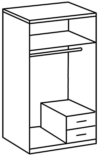 Wimex 119210 Kleiderschrank/ Drehtürenschrank Skate, 2 Türen, 2 Schubladem, 1 Spiegel, (B/H/T) 90...