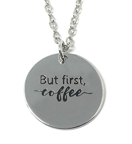 Zilveren-Toon 'Maar Eerste Koffie' Gegraveerd Hanger Ketting 2.2cm Met 18 Inch Keten Moe Lui Ochtend Werk