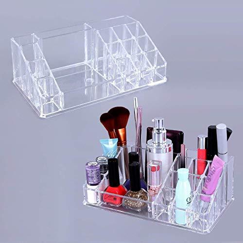 GREEYA 16 Compartment Cosmetic Makeup Jewellery Lipstick Storage Organizer Holder Box, 21.2L x 12.5W x 7.8H, Transparent