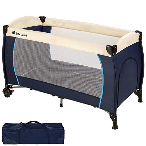 TecTake Baby Travel cot Bed playpan with Practical Carry Bag (Blue | no. 402416)