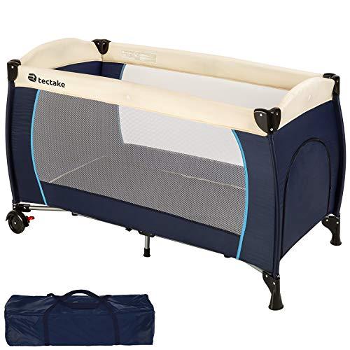 TecTake Kinderreisebett mit Schlafunterlage und praktischer Transporttasche - diverse Farben - (Blau | Nr. 402416)