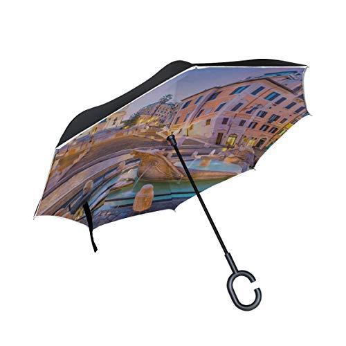 Doppelschicht-umgekehrte Regenschirme, die alte große römische Architektur-Rückseiten-Regenschirme für Männer Falten Klappstuhl-Regenschirm-winddichter UV-Schutz für Regen mit C-förmigem Griff Falten