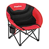 KingCamp Moon Saucer Camping Folding Round Chair Padded Seat Heavy Duty Steel Frame with Cup Holder and Back Pocket (Blue)