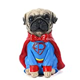 Cartoon Mini Resin Dog Statue,Cute Pug Dog Piggy Bank,For Children's Bedroom, Living Room Decorations (Superman)