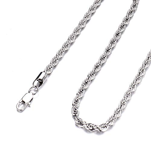 FEEL STYLE Men Necklace Stainless Steel Chain Sliver Plated Rope Chain Jewelry 5mm 20 Inch