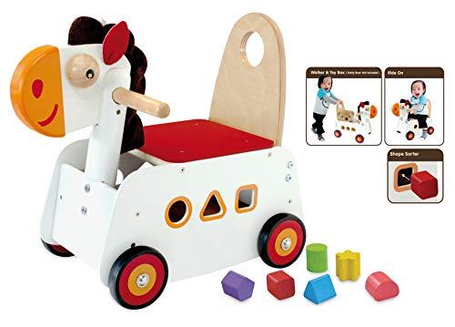 I'm Toy Bartl 111868 Schiebewagen Pferd aus Holz, Spitzen Qualität