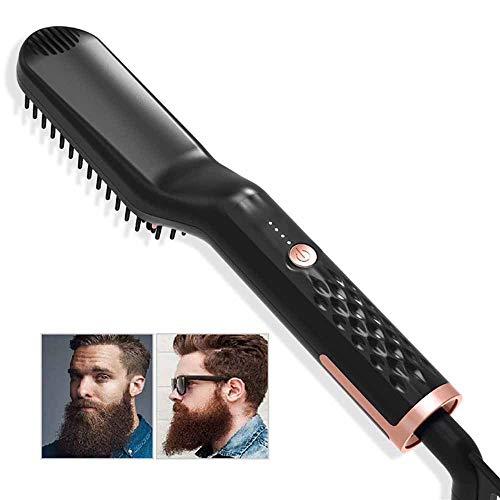 Barba raddrizzatore pettine per gli uomini stiratura spazzola multi funzionale dei capelli riscaldata Barba pettine per la casa o di viaggio (nero)