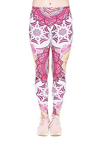 Leggings Fullprint Dames Legging Print Kleurrijke Workout Kleurrijke Volledig bedrukt Ondoorzichtige broek Gym Fitness Sport Yoga Stretch Mandala Pink