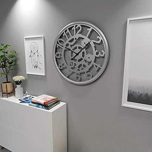 YesVCTR Reloj de pared retro hueco circular silencioso creativo minimalista moda personalidad metal hierro artesanía bar restaurante cafetería decoración del hogar 51 x 51 cm plata