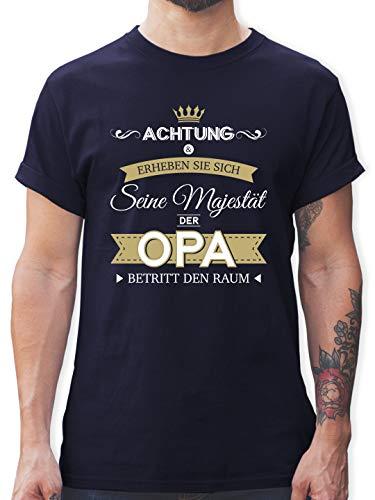 Opa - Seine Majestät der Opa - L - Navy Blau - t Shirt mit Opa sprüchen - L190 - Tshirt Herren und Männer T-Shirts