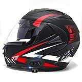 Bluetooth Casco Moto Modular ECE Homologado Integrado Casco de Moto Scooter para Mujer Hombre Adultos con Doble Visera - Espejo de Noche Brillante DF,S