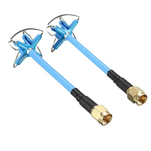 HONG YI-HAT FPV 5.8G 3dBi 4 Leaf Clover AV Trasmissione RHCP Antenna SMA//RP-SMA Rosso Blu for Aomway Camera 5.8G FPV reciver Corsa Drone Pezzi di Ricambio Color : Blue SMA