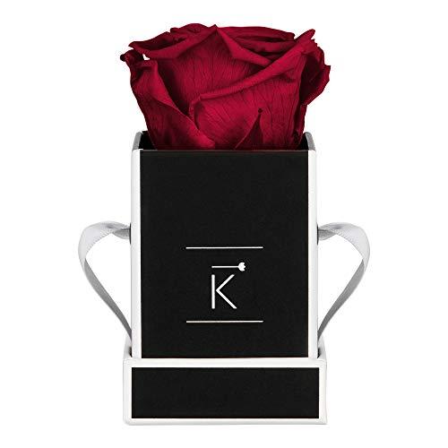 TRIPLE K Rosenbox Square Black, Infinity Rosen, bis 3 Jahre haltbar, Flowerbox...