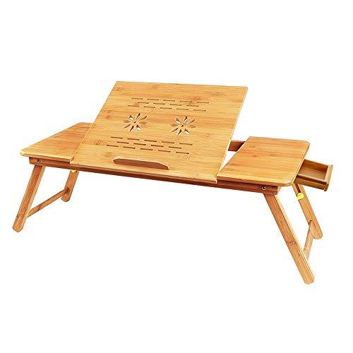 Fly Hong Bamboe Computer Desk, Opvouwbaar Bed Laptop Tafel for Links of Rechts Hander, Bank dienblad Ontbijt Stand met kleine lade