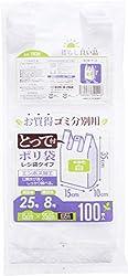 ハウスホールドジャパン レジ袋 とって付 ゴミ分別用ポリ袋 100枚入 白 TR25 約15×35×マチ10cm