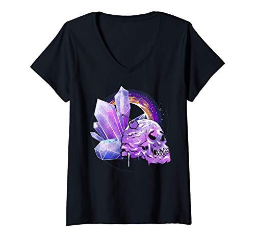 Mujer Vaporwave Estética Calavera Cristales Pagano Pastel Goth Camiseta Cuello V