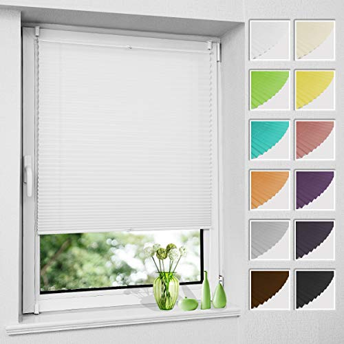 Plissee Klemmfix ohne Bohren, Weiß 105 x 130 cm (BxH), Faltrollo Plisseerollo mit Klemmträger, Jalousie Rollos für Fenster und Tür, Sichtschutz und Sonnenschutz