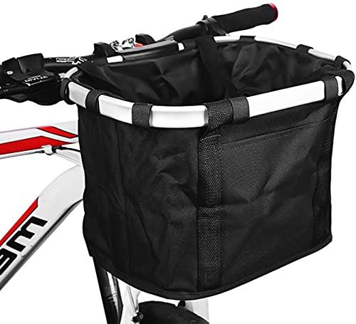 自転車 かご 前 取り外し可能 折りたたみ 巾着式 自転車 カゴ着脱式 防水 耐荷重10KG ペット ショッピング 通勤 キャンプ アウトドア向け( 黒)