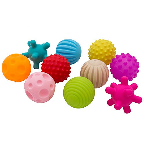 Wrighteu 10PCS Bolas de Masaje Pelotas Sensoriales de Mano para Bebé con Sonido Infantil Pelota Educativa Suaves Garre Juguete de Baño