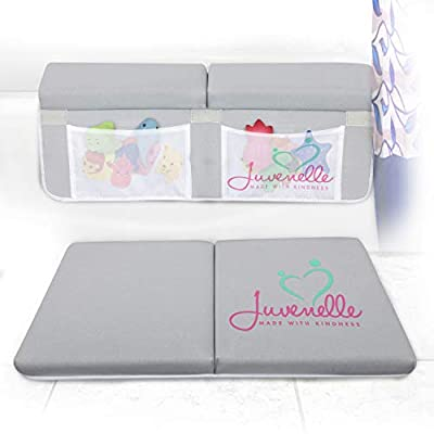 ?Juvenelle Bath Kneeler and Elbow Rest - Knee Cushioned Kneeling Mat & Arm Support Pad Bathtub Set - Non Slip Bathtime Accessories w/ 4 Double-Stitched Pockets for Shampoo, Soap & Toy Storage (Gray)