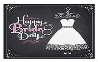Amxxy Happy Bride DayWordsウェディングドレス渦巻きお祝いアートプリント白と黒のソフトクッション滑り止め玄関マットバスラグクリエイティブな家の装飾と屋外玄関マットバスルームマット15.7x23.6in