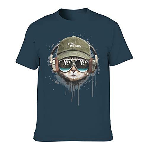 T-HGeschäft Lässig - Camiseta para hombre con diseño de gato y gafas de sol azul marino XXXXXL