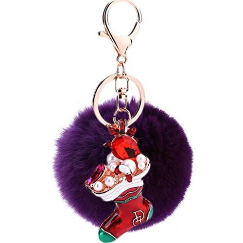 Schlüsselanhänger plüsch Ball glänzend Weihnachtssocke Strass Plüsch-Kugel Autoschlüssel-Anhänger Pompom Weich Handtaschenanhänger Dekor Schlüsselring bommel Keychain (Violet-A)