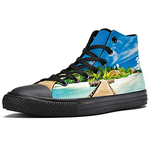 LORVIES Belles Plages - Zapatillas altas de lona para hombre, (multicolor), 46 EU