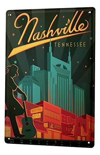 qidushop Deco-City Nashville Tennessee Cowboy Gitarre Metall Blechschilder für Zuhause Dekoration Wand Post Einweihungsgeschenk