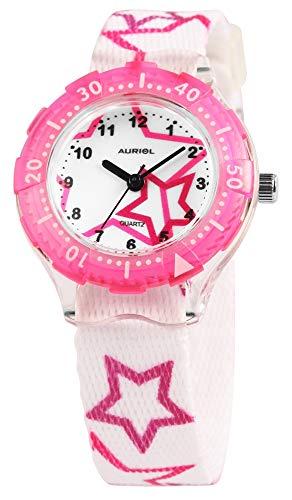 Auriol - Reloj de Pulsera para niños (analógico, Metal, Tela, Cuarzo), diseño de Estrellas, Color Blanco y Rosa
