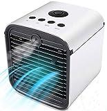 Aire Acondicionado, Mini 3 en 1 Personal Enfriador de Aire Purificador de Aire Humidificador y Purificador, USB Ventilador Escritorio con 3 Velocidades y 7 Colores LED Luz de la Noche … (Blanco 4)