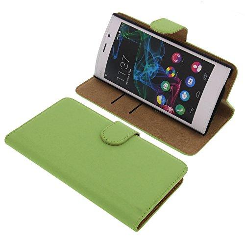 Tasche für Wiko Ridge Fab 4G Book Style grün Kreditkarte Schutz Hülle Buch