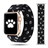 WONMILLE Scrunchie Band Compatible with Apple Watch Band Series 6/5/4 38mm/40mm, Nylon Elastic Bracelet Women Replacement Wristbands for iWatch 3/2/1 42mm/44mm Accessories (Black Dog Paw, 38mm/40mm)