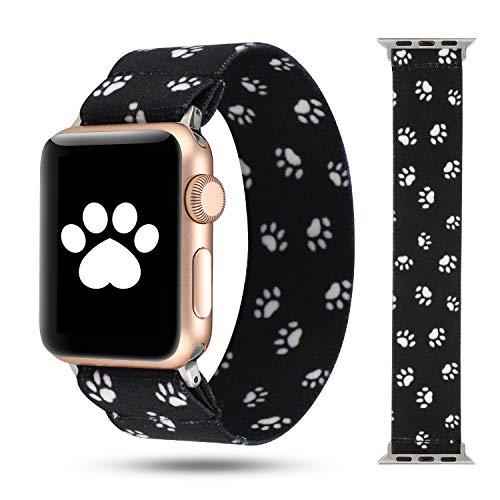 HULUCKY Scrunchie Band Compatible con Apple Watch Series 5/4 38 mm/40 mm, Nylon Elástico Pulsera de repuesto para iWatch 3/2/1 42 mm/44 mm Accesorios (pata de perro negra, 38 mm/40 mm)
