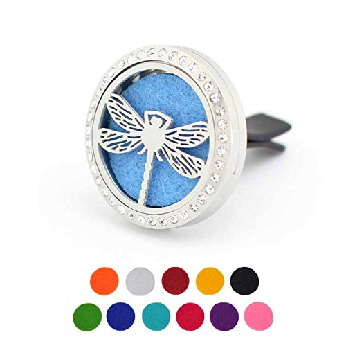 Car Aromatherapy Essential Oil Diffuser Air Freshener Vent Clip, Dragonfly Stainless Steel 30mm Rhinestones Locket, 11 Refill Pads