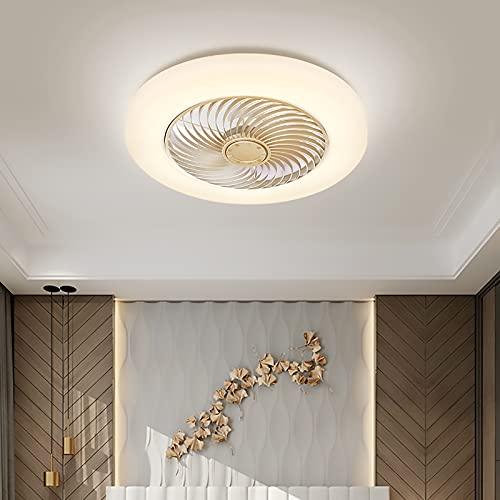 Ventilador De Techo LED 60W Luz Del Ventilador Invisible Plafon Con Iluminación Control Remoto Luces Regulable Silenciosa Sala Habitación De Niños Dormitorio Comedor Lámpara De Araña De Ventilador