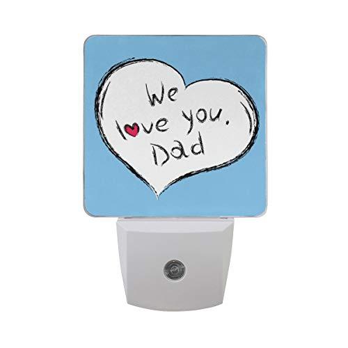 AOTISO Gelukkige Vaderdag We Love You Dad Letter in Heart On Blue Background Auto Sensor Nachtlampje Plug in Indoor