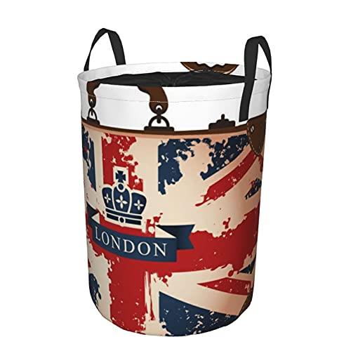 Cesto de lavandería redondo con asas,maleta de viaje vintage con la imagen de la cinta y la corona de la bandera británica de Londres,cesto de lavandería plegable impermeable con cordón de19'X14'