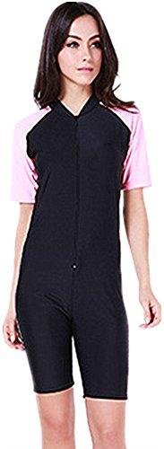 Surfanzug Damen Neoprenanzug kurzen Ärmeln Frauen Bescheidenheit Jumpsuit One Piece Kurzarm Badeanzug (Int'l - L, pink 2)