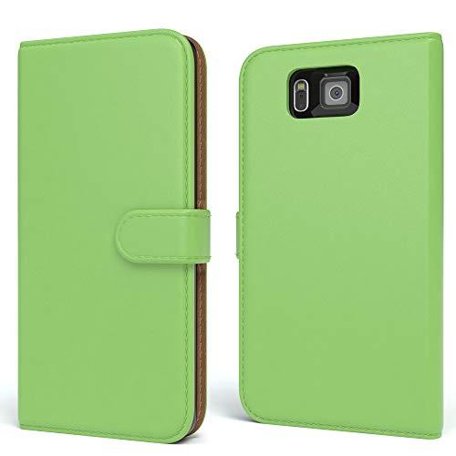 EAZY CASE Tasche für Samsung Galaxy Alpha Schutzhülle mit Standfunktion Klapphülle im Bookstyle, Handytasche Handyhülle Flip Cover mit Magnetverschluss und Kartenfach, Kunstleder, Grün