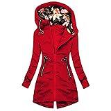 Beudylihy Veste de pluie pour femme - Respirante - Avec capuche - Coupe-vent - Légère - Grandes tailles - Veste de randonnée - Veste fonctionnelle - Veste de sport - Veste de demi-saison, b rouge, M