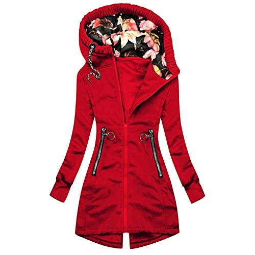 Womens Fall Clothes,Womens zip up Jacket Spring Workout Girls Coats Petite Colorful Novelty Sweatshirts Outerwear Sweatshirt Graphic Funny Red
