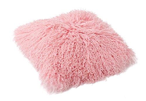 Tibet Lammfell Kissen Kissenbezug 40x40cm (große Farbauswahl) JAY101 Farbe rosé/rosa