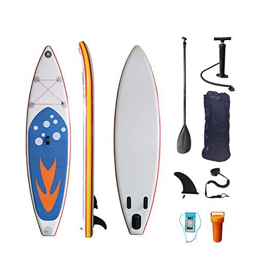 Tabla Paddle Surf Hinchable, 320Cm SUP Inflable Stand Up Paddle Board Tabla De Surf Para Acuáticos De Yoga Antideslizante Con Mochila, Correa, Paleta, Bomba, Aleta Y Funda Impermeable Para Teléfono