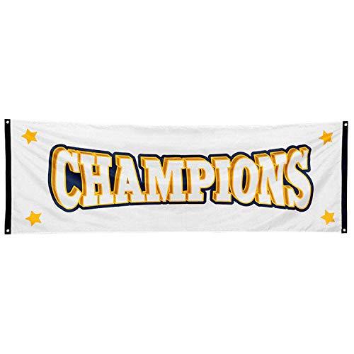 Boland 44771 - Banner Champions, Größe 74 x 220 cm, Flagge aus Polyester, Fahne, Zieleinlauf, Gewinner, Siegerehrung, Sportfest, Party