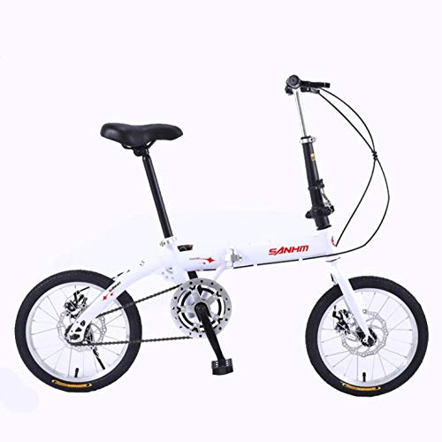 DGAGD 14 inch Lightweight Folding Bicycle Single Speed disc Brake Bicycle White-A
